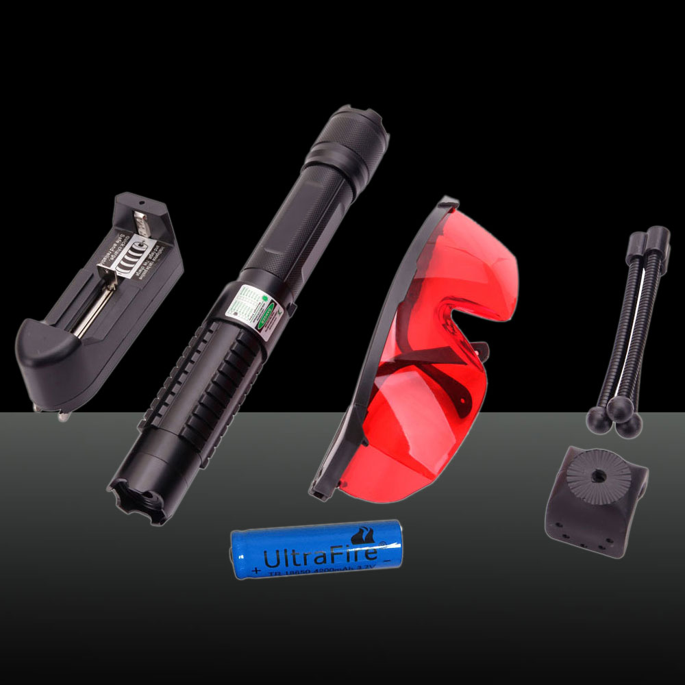 0889LGF 2000mW 532nm feixe de luz verde separado Crystal Laser Pointer Pen Kit Preto