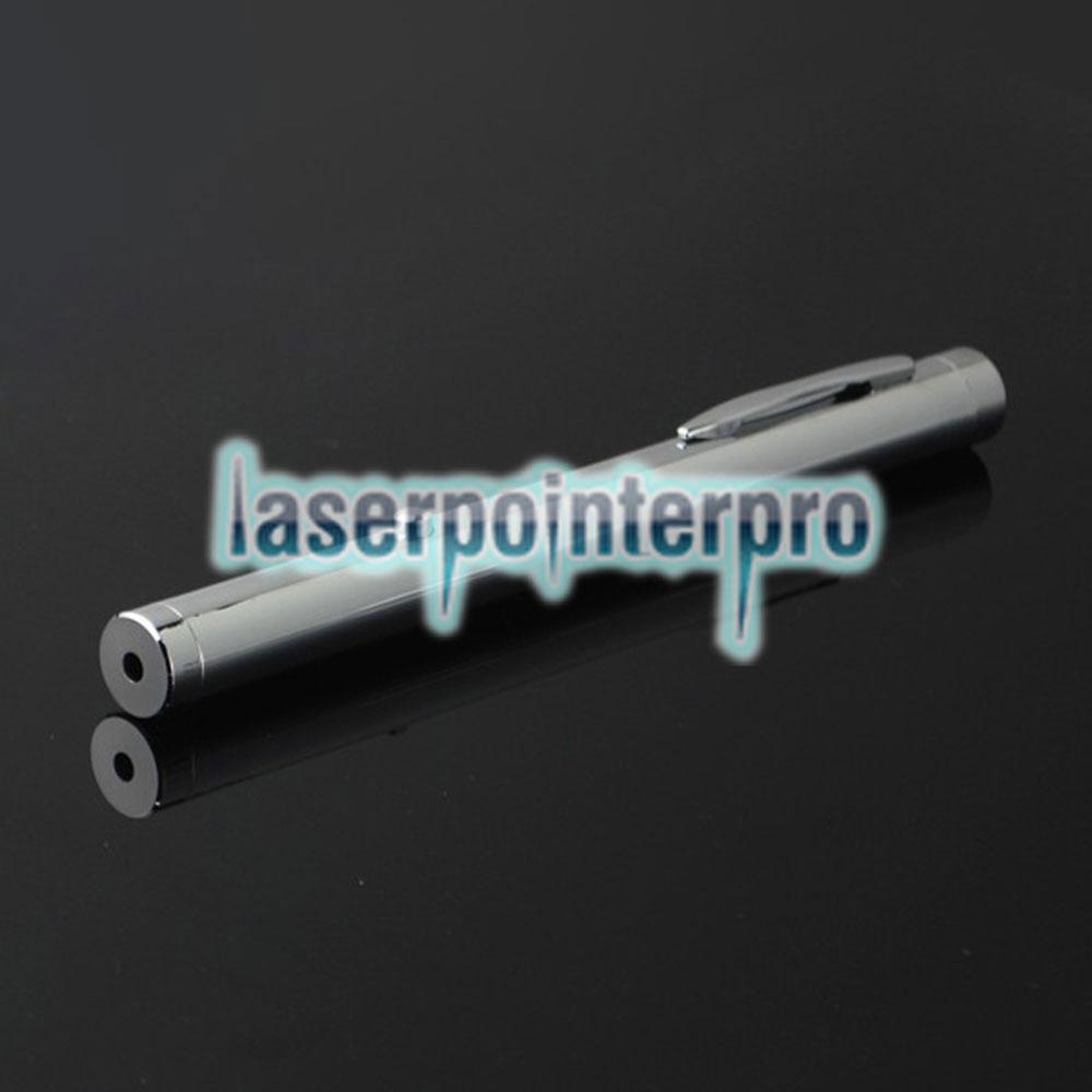 50mw 532nm Penna puntatore laser interamente in acciaio con luce verde a singolo punto di luce, colore metallo brillante