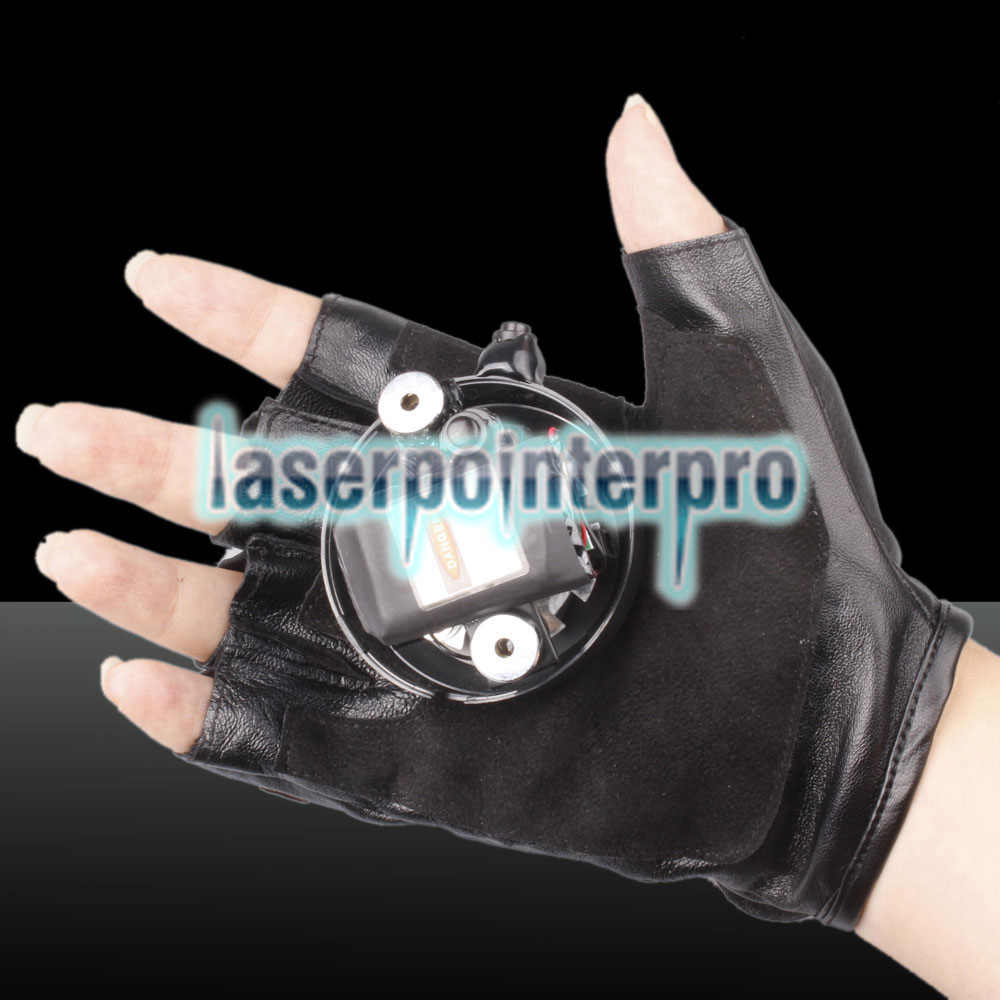 400mw 532nm/405nm Green & Purple Light Color Swirl Light Style Rechargeable Laser Glove Black Free Size