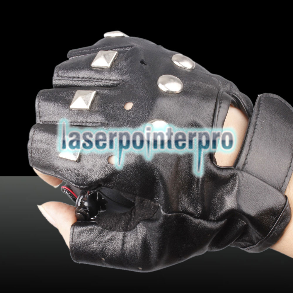 100mw 650nm & 405nm Red & Purple Light Color Swirl Light Style Rechargeable Laser Glove Black Free Size