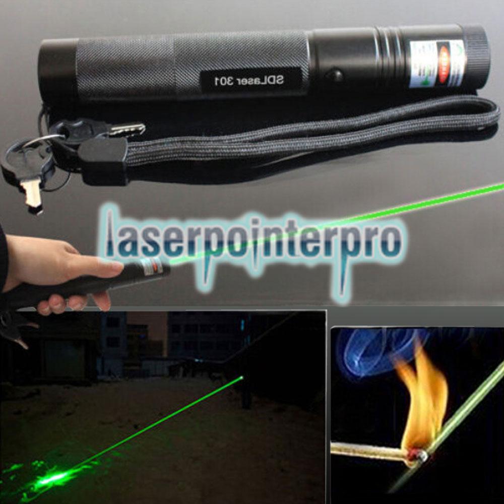 Laser 301 200MW 532nm Puntero láser de alta potencia con luz verde Negro