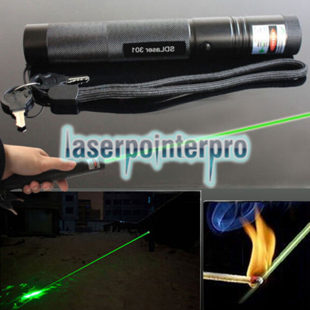 Laser 301 1000MW 532nm Luz verde de alta potência Laser Pointer Kit Black