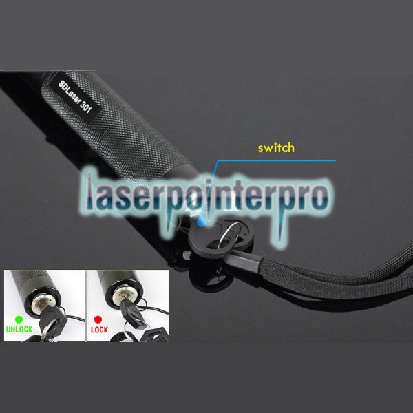 Laser 301 100mW 532nm Green Beam Light Punto único Laser Pointer Pen Negro