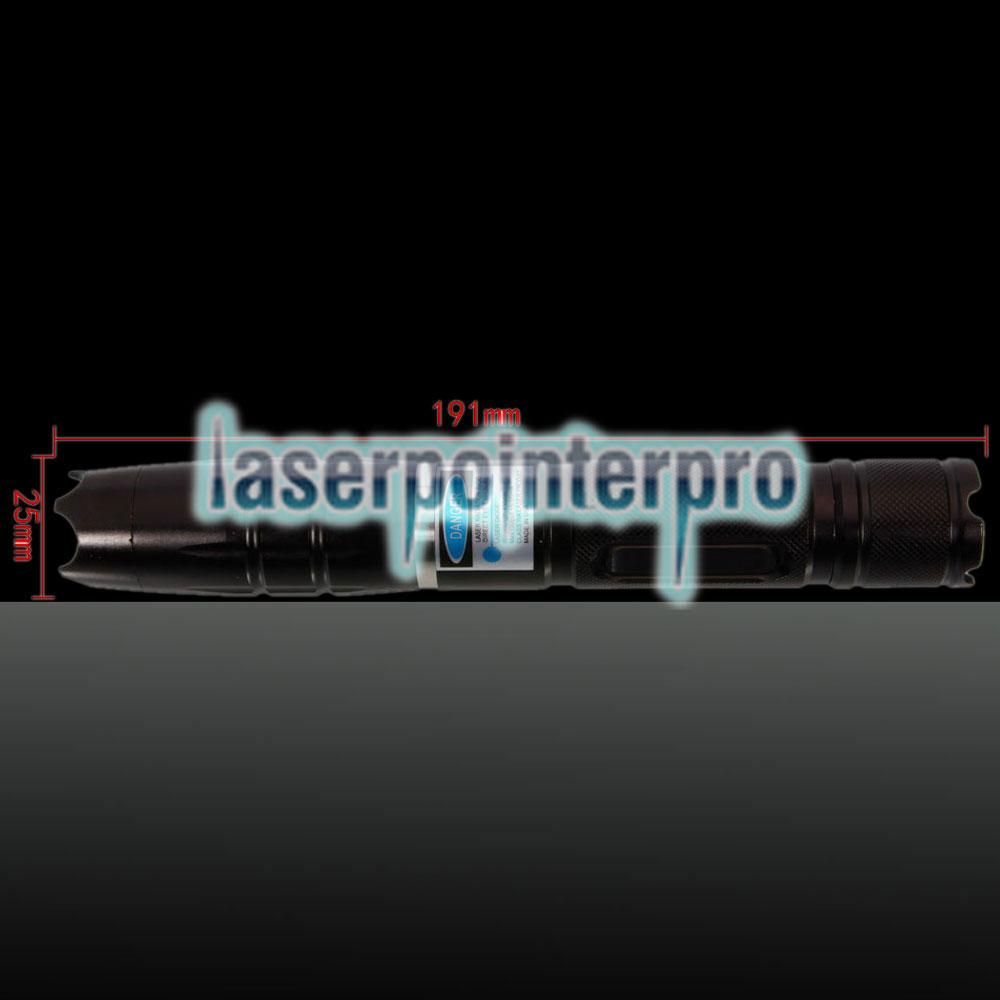 5000mW 450nm Blue Beam Un solo punto de puntero láser de acero inoxidable con kit de baterías con baterías y cargador Negro