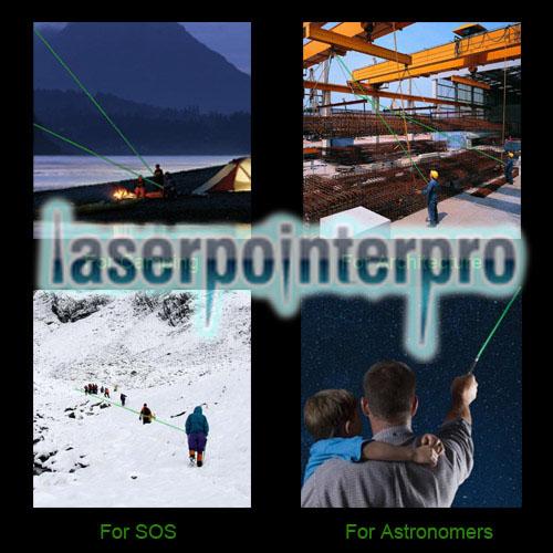 Tuta puntatore laser a luce verde con testa attaccata ad alta potenza da 2000 mW argento