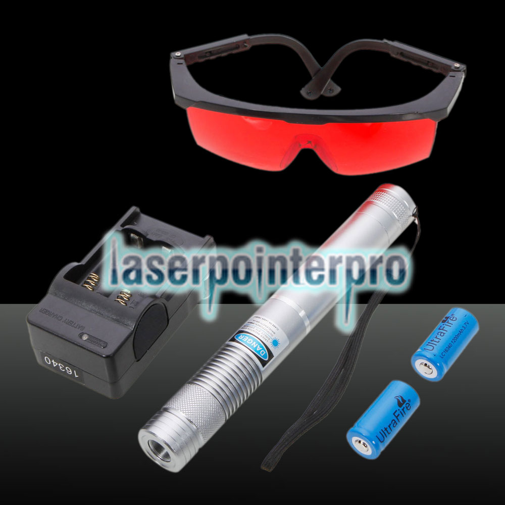 2000mW Circle Straight Type High Power Blue Light Laser Pointer Suit Silver