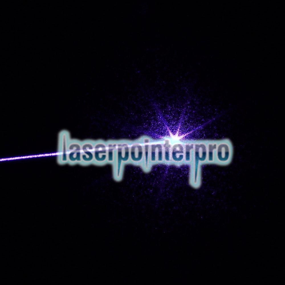 Tipo de extensión de 50 mW Focus Purple Dot Pattern Facula Laser Pointer Pen con 18650 batería recargable de plata