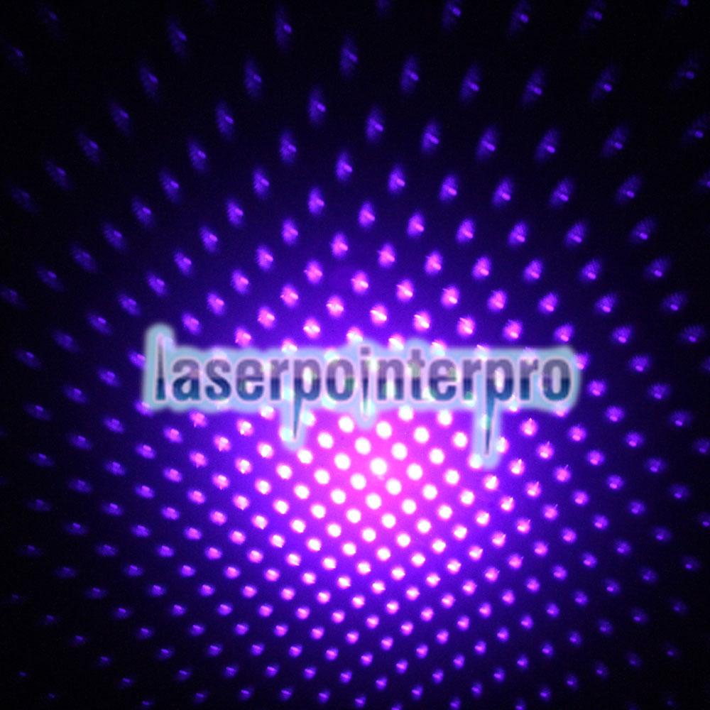 Patrón de punto de 50 mW / Patrón estrellado / Multi-patrones Enfoque Luz púrpura Puntero láser Pluma Plata