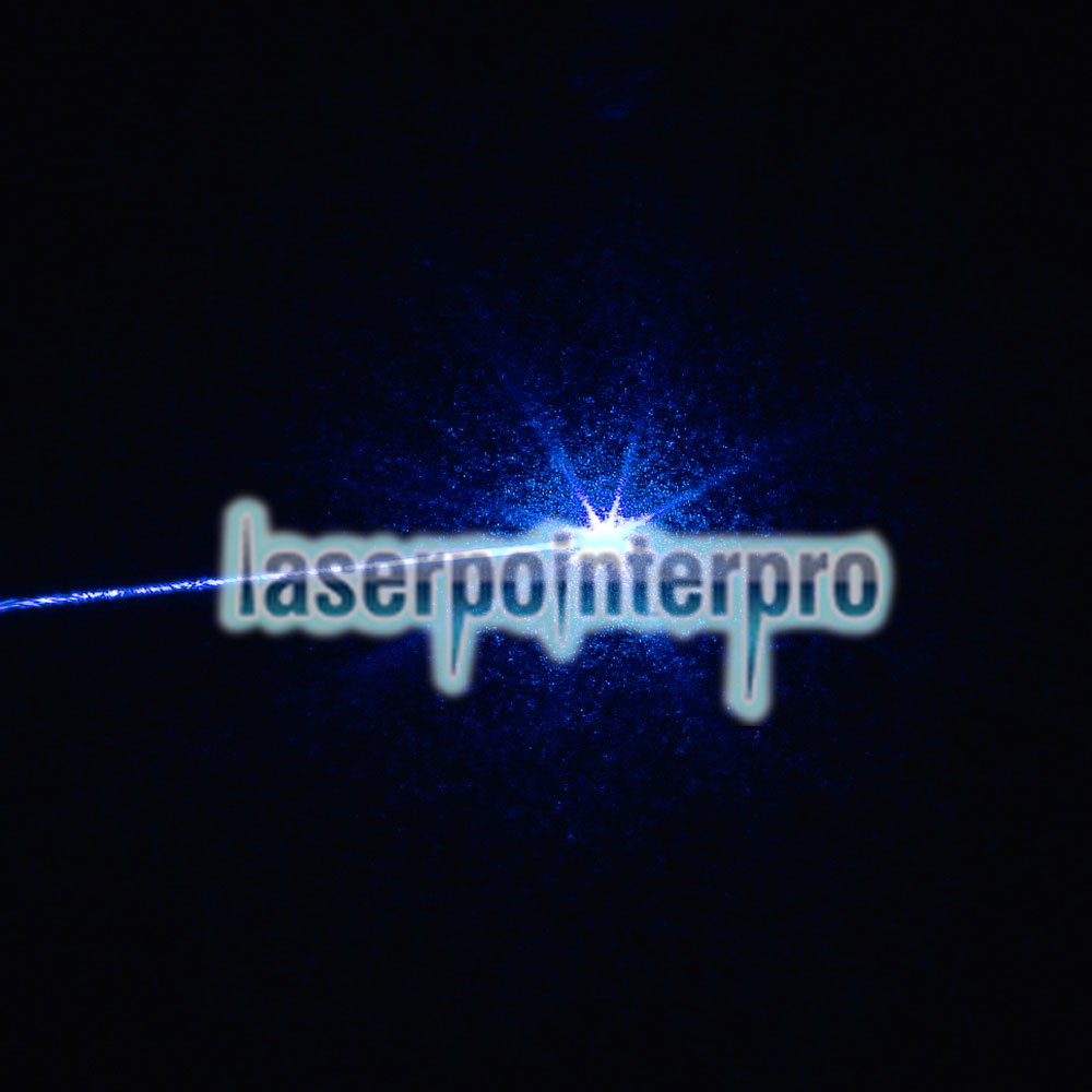 2000mW 405nm Focus Pure Blue Beam Light Puntero láser con 16340 batería recargable Negro