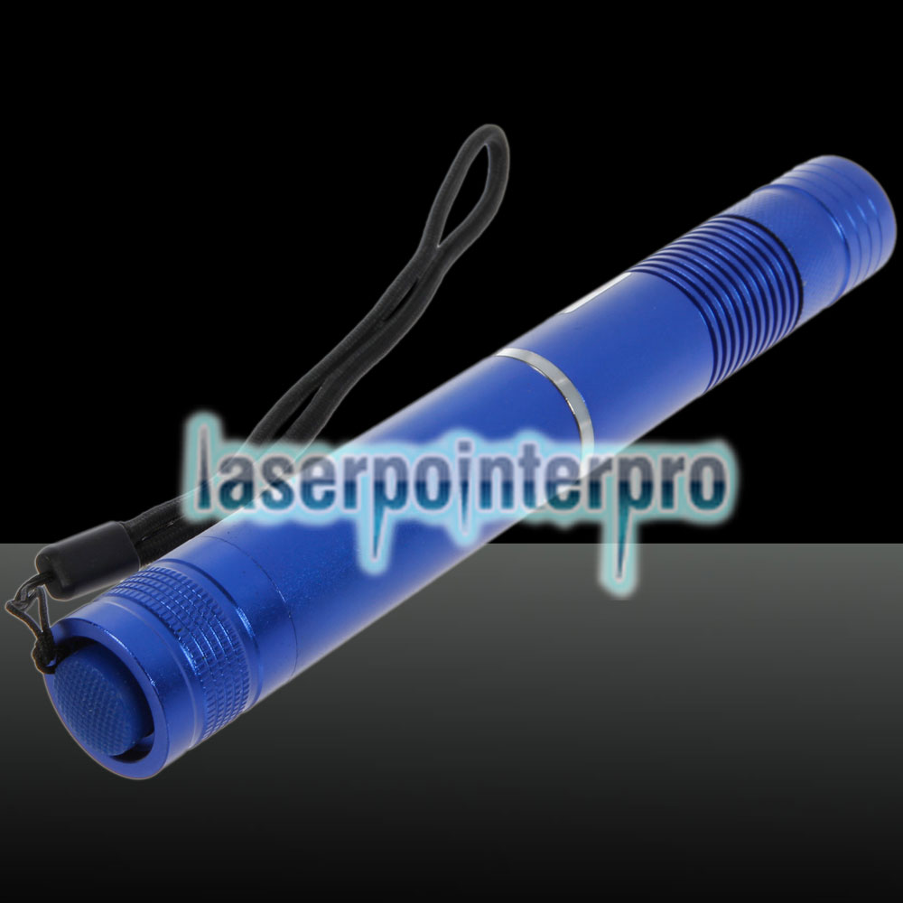 200mW 532nm Focus Green Beam Light Laser Pointer Pen com 18650 Bateria recarregável azul