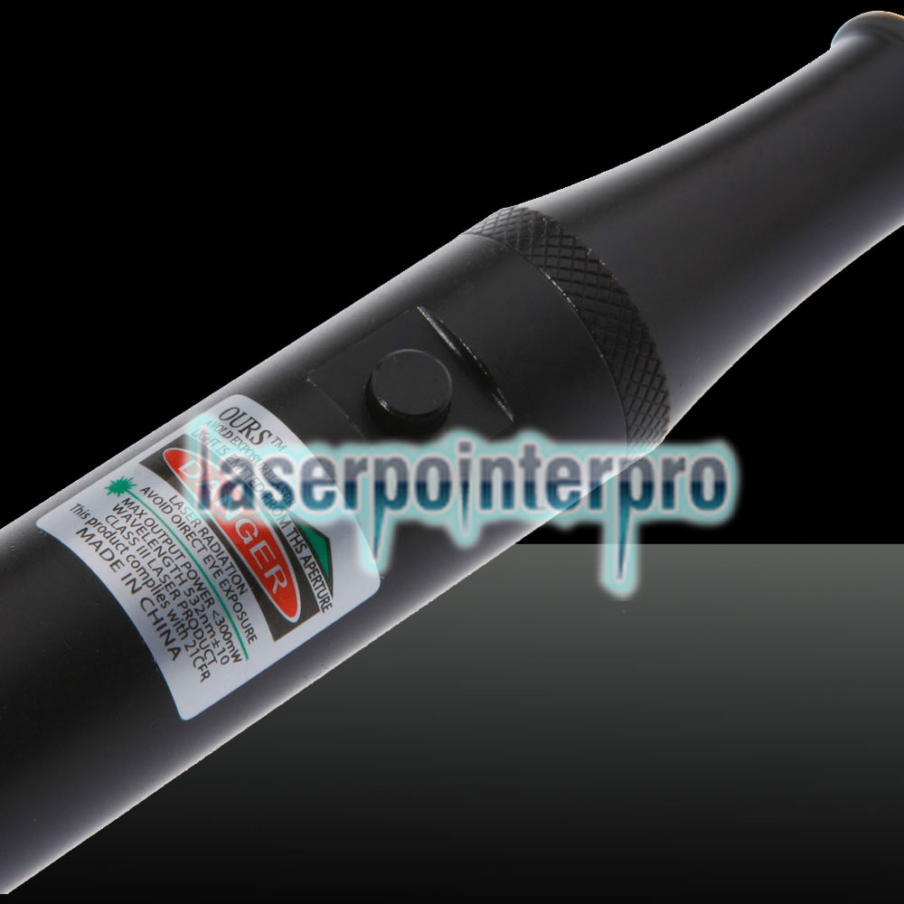 300mW 532nm Click Style Green Laser Pointer with Battery Black