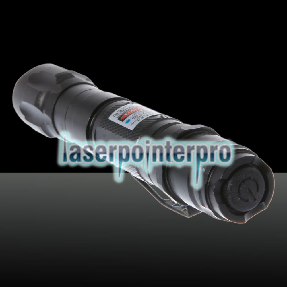 300mW 620 Click Style Open-back Blue Laser Pointer with Clip / Battery Black