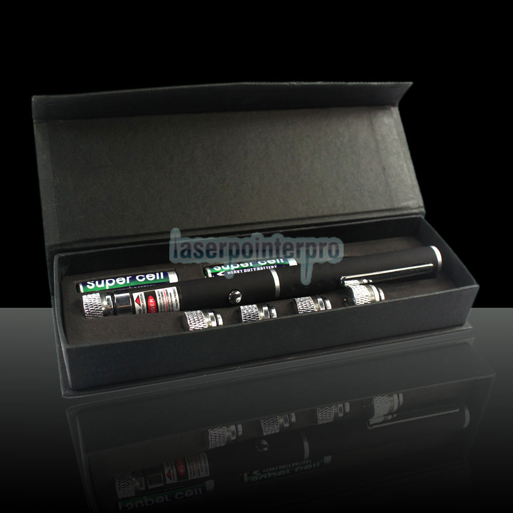 5-em-1 200mW 532nm Open-back Kaleidoscopic Caneta Laser Pointer Verde