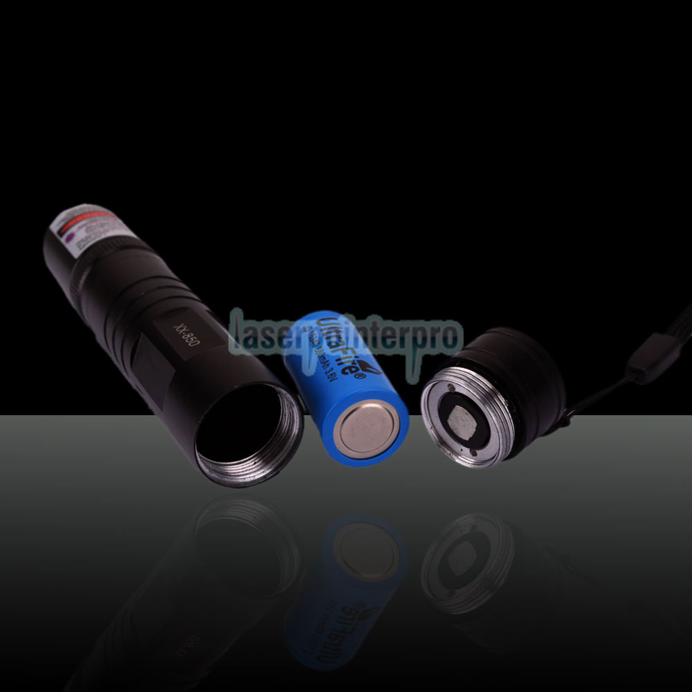 100mW 405nm 850 Flashlight Style Blue-violet Laser Pointer Black (with one 16340 battery)
