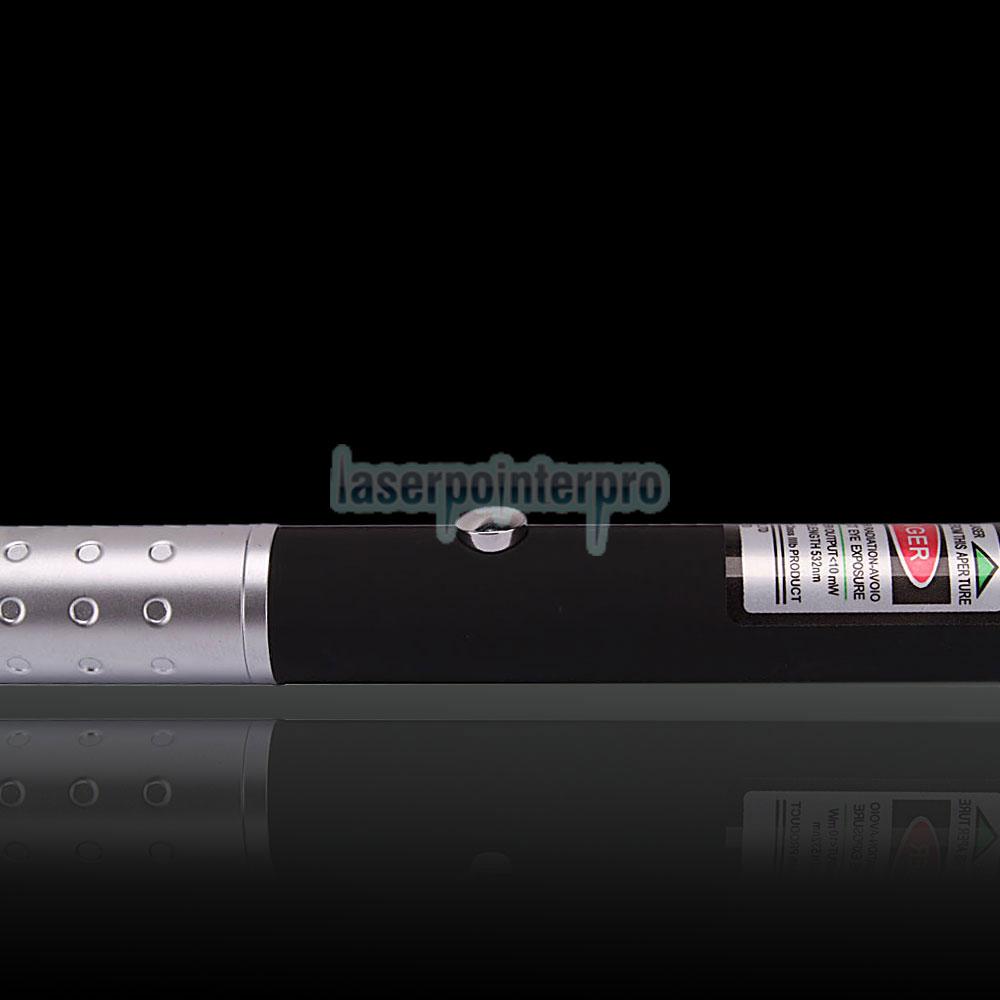 10mW 532nm Half-steel Green Laser Pointer Pen con batería 2AAA