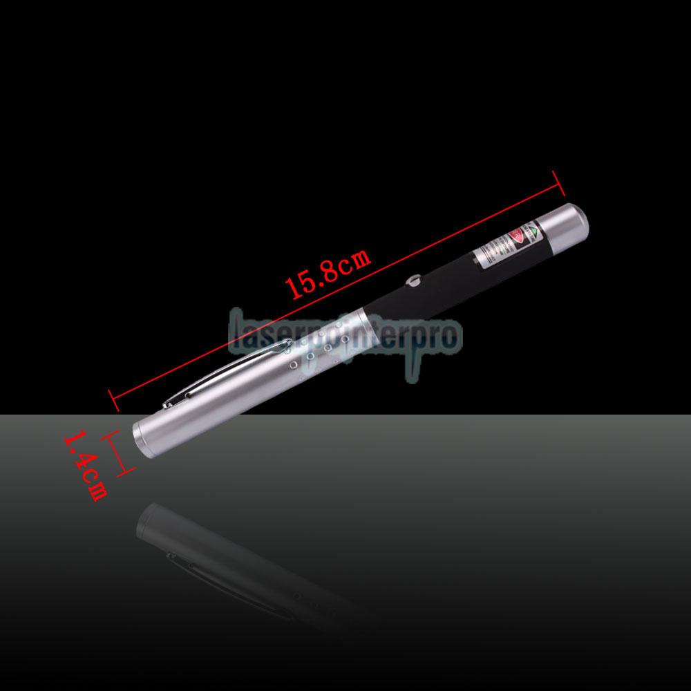 Penna puntatore laser verde mezzo acciaio 10mW 532nm con batteria 2AAA