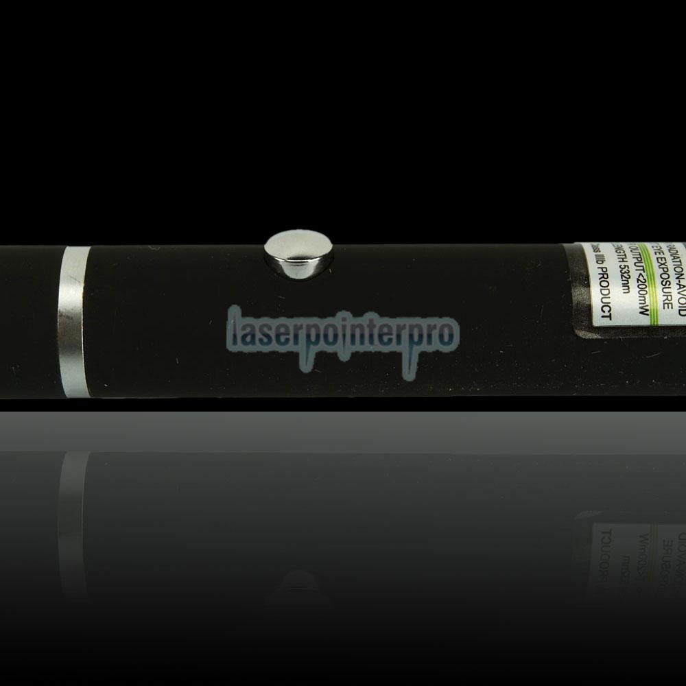 Stylo pointeur laser vert kaléidoscopique mi-ouvert de 200mW 532nm avec batterie 2AAA