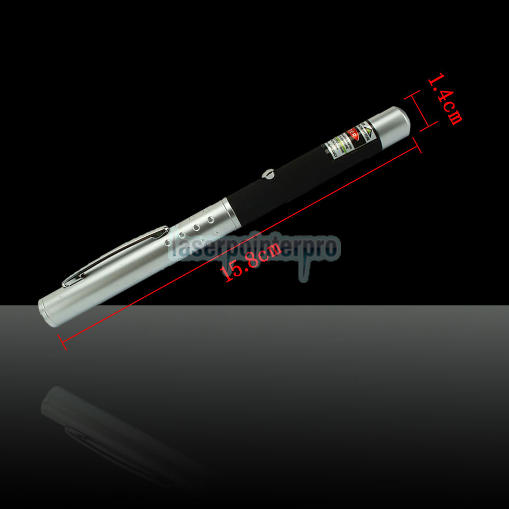 200mW 532nm Half-steel Green Laser Pointer Pen con batería 2AAA