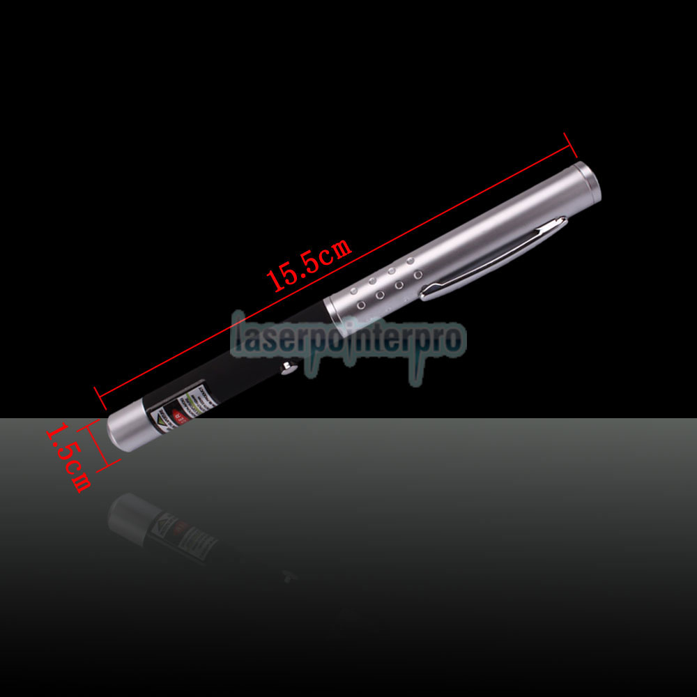 50mW 532nm Half-steel Green Laser Pointer Pen with 2AAA Battery