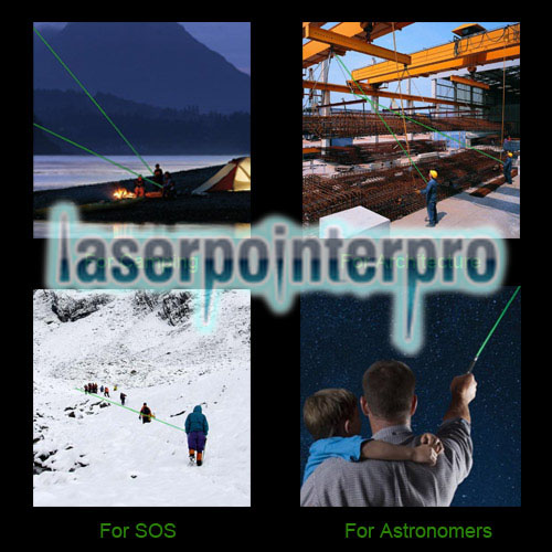 400mw 532nm Green Beam Light 6 Starry Sky Light Styles Laser Pointer Pen con soporte Negro