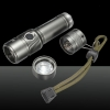 XM-L LED Small Bulb 2000lm White Light Three Modes Adjustable Focus Zooming Aluminum Alloy Flashlight Grey