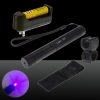 250mW 405nm Starry Sky Style Purple Light Waterproof Aluminum Laser Pointer Matchstick Cigarette Lighter Black
