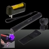 400mW 405nm Starry Sky Style Purple Light Waterproof Aluminum Laser Pointer Black