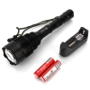 Laser Flashlight 2000LM High Power 1000m Lighting Distance with 2pcs 18650 Batteries & Universal Charger White Light