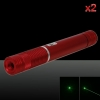 2Pcs 500MW Beam Green Laser Pointer (1 x 4000mAh) Red