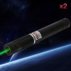 2Pcs 400MW Beam Green Laser Pointer (1 x 4000mAh) Black