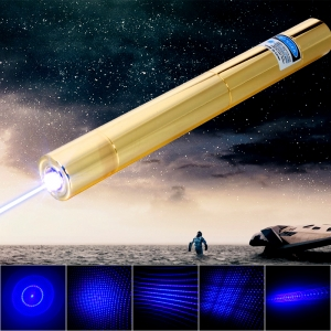 6000mW 450nm 5 in 1 Blau Superhigh Power Laserpointer Kit Golden