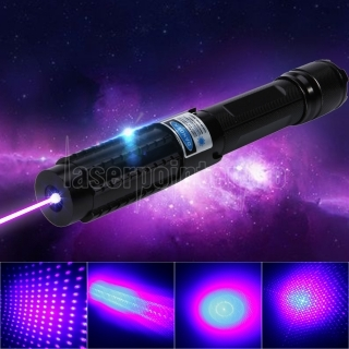 2000mW Burning 450nm 5-in-1 Blue Beam Light Laser Pointer Pen Kit nero