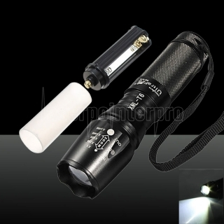 LT XM-L 1*T6 1000LM White Light 5-Mode Waterproof Flashlight Black
