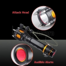 T6 2000lm Attack Heads + Allarme sonoro LED White Flashlight Nero