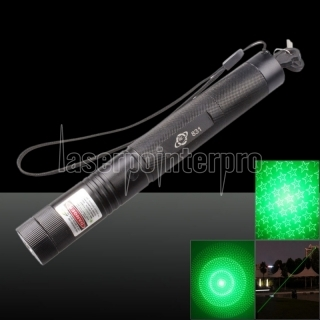 400mw 532nm Green Beam Light 6 Starry Sky Light Styles Laser Pointer Pen with Bracket Black