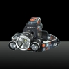 3*T6 5000lm 4-Mode Single LED Headlamp Black