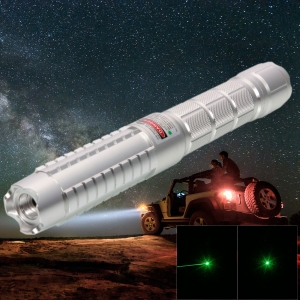 500mW 532nm Green Beam Single-point Aluminum Laser Pointer Pen Kit with Battery & Charger Silver