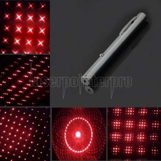 300mW 650nm New Steel Casing Kaleidoscope Starry Sky Style Purple Light Waterproof Laser Pointer Silver