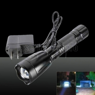 2200LM LED Rechargeable Flashlight Torch with Charger Black