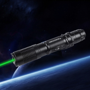 UKing ZQ-A13 200mW 532nm Green Beam Single Point Zoomable Laser Pointer Pen Black