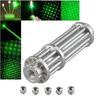 UKing ZQ-15LB 200mW 532nm feixe verde Zoomable 5-em-1 Laser Pointer Pen Kit Prata
