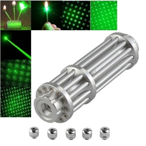 UKing ZQ-15LB 100mW 532nm feixe verde Zoomable 5-em-1 Laser Pointer Pen Kit Prata