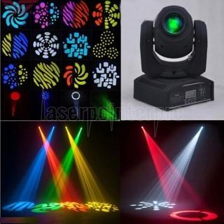 UKing ZQ-B54A 50W 1-LED 8 Rotary Pattern Effect DMX-512 Self-propelled Sound Control LED Stage Lamp Black