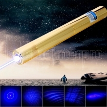 30000mW 450nm 5 em 1 Azul Superhigh Power Laser Pointer Pen Kit Dourado