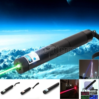 Multifuncional 3 en 1 10000 mW Blue & Green & Red Laser Beam Zooming Laser Pen puntero negro