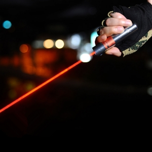 UKing ZQ-j12 30000 mW 638nm Reiner Roter Strahl Single Point Zoomable Laserpointer Kit Titan Silber