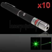 10Pcs 5mW 532nm Mid-open Green Laser Pointer Black (No Packaging)