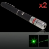 2Pcs 5mW 532nm Mid-open Green Laser Pointer noir (aucun emballage)
