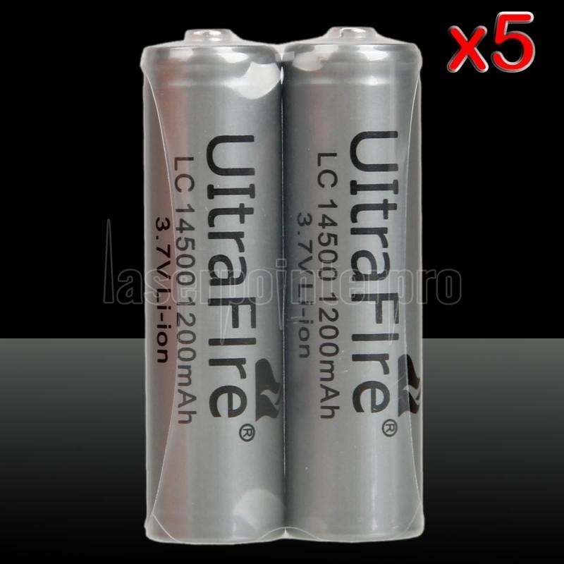 5 2pcs Ultrafire 14500 Aa 3 7v 1200mah Li On Rechargeable Batteries Laserpointerpro