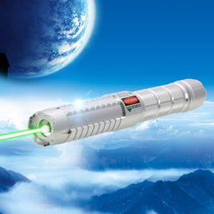 2000mW High Power Attacked Head Green Light Laser Pointer Suit Silver